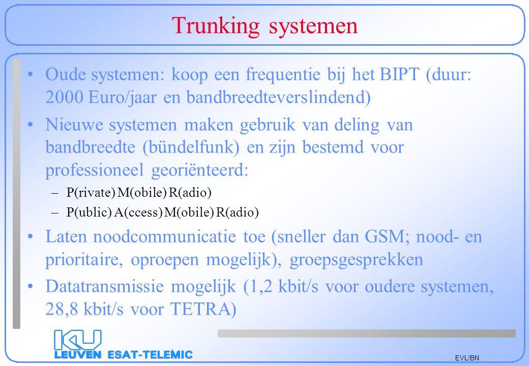 Trunking systemen Oude systemen: koop een frequentie bij het BIPT (duur: 2000 Euro/jaar en bandbreedteverslindend)