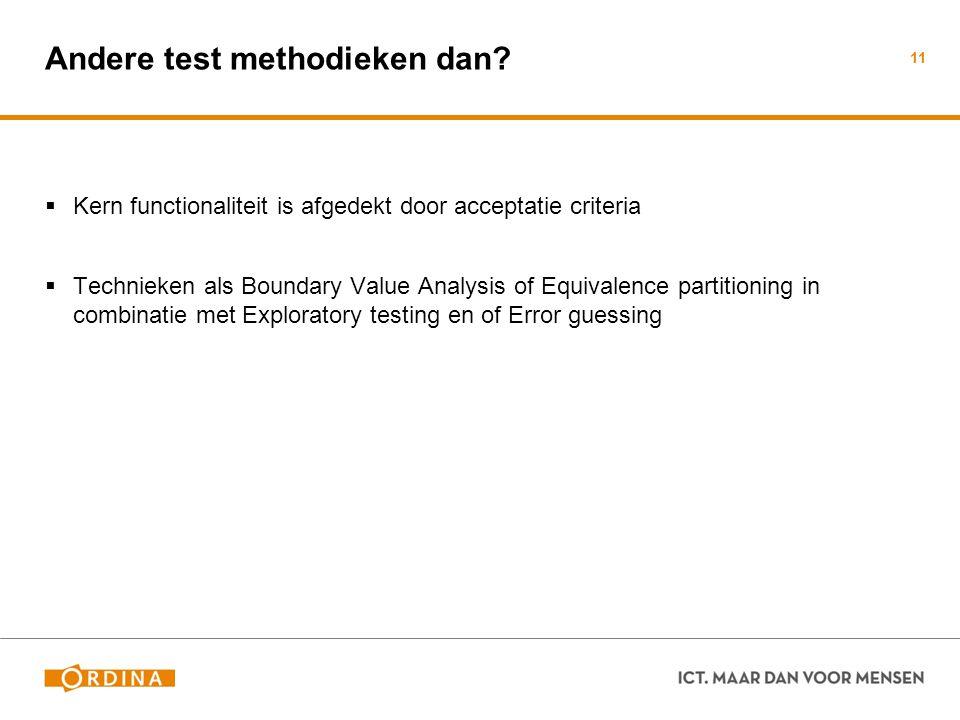 Andere test methodieken dan