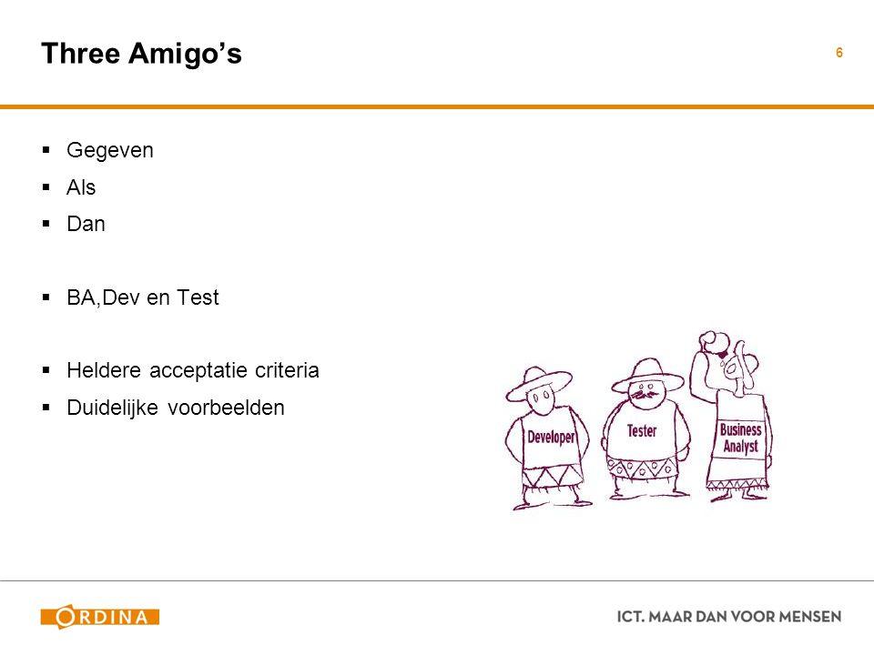Three Amigo's Gegeven Als Dan BA,Dev en Test