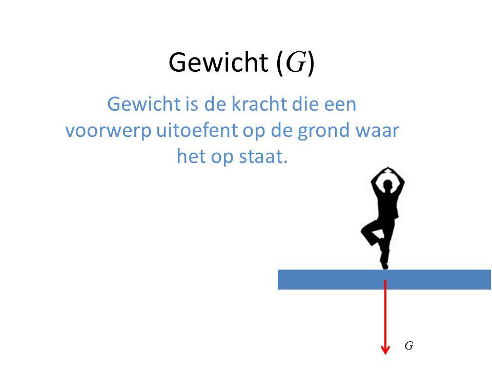 Gewicht (G) Gewicht is de kracht die een voorwerp uitoefent op de grond waar het op staat. G