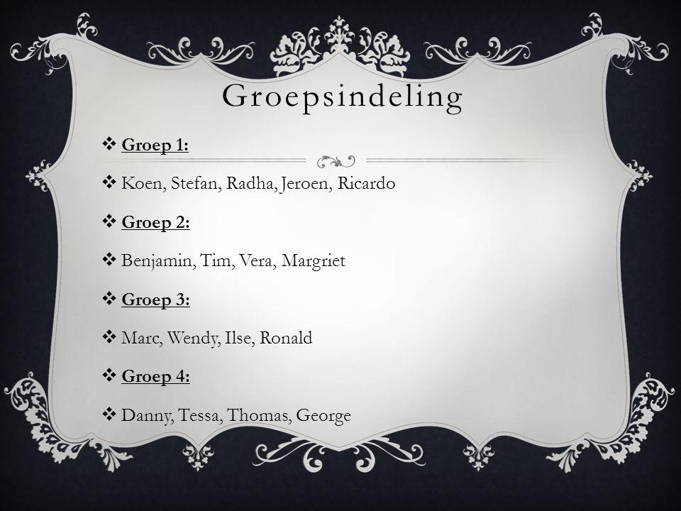 Groepsindeling Groep 1: Koen, Stefan, Radha, Jeroen, Ricardo Groep 2: