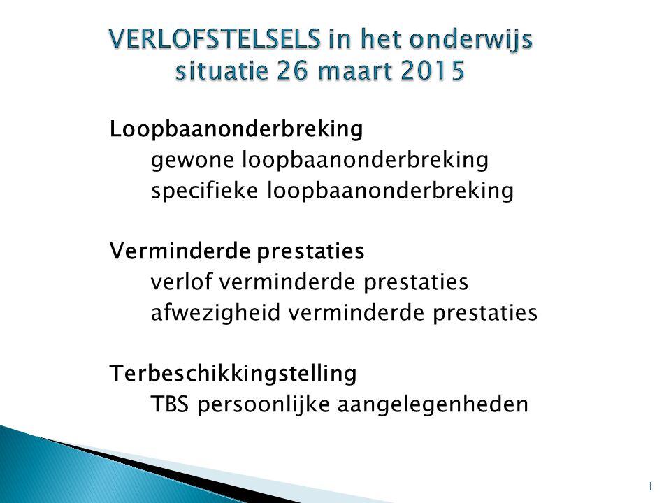 VERLOFSTELSELS in het onderwijs situatie 26 maart 2015