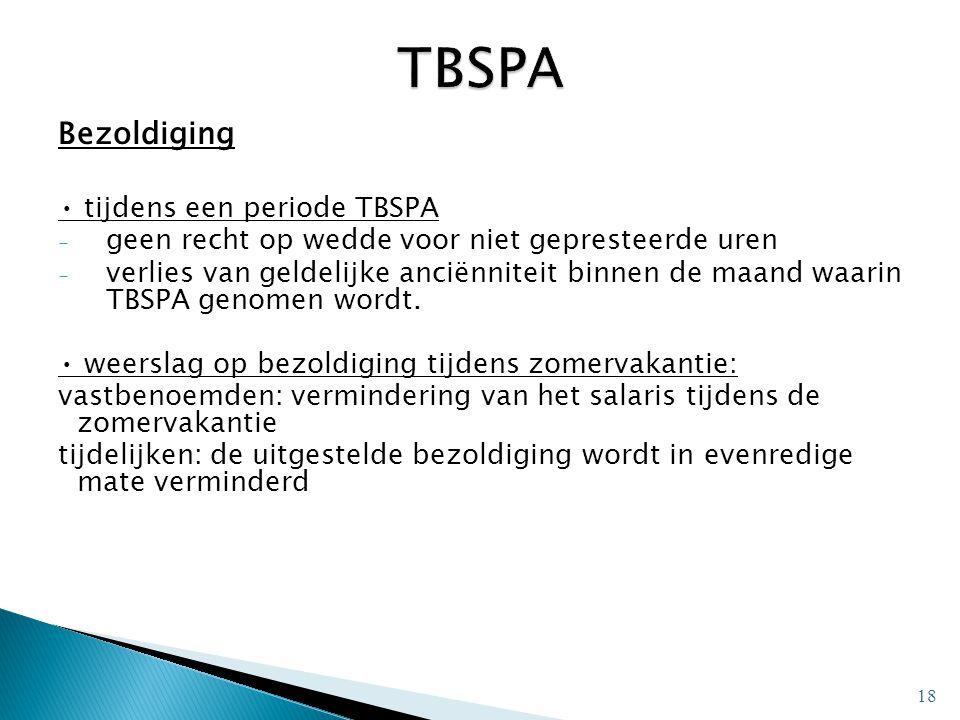 TBSPA Bezoldiging • tijdens een periode TBSPA