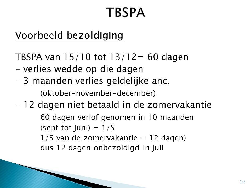 TBSPA Voorbeeld bezoldiging TBSPA van 15/10 tot 13/12= 60 dagen