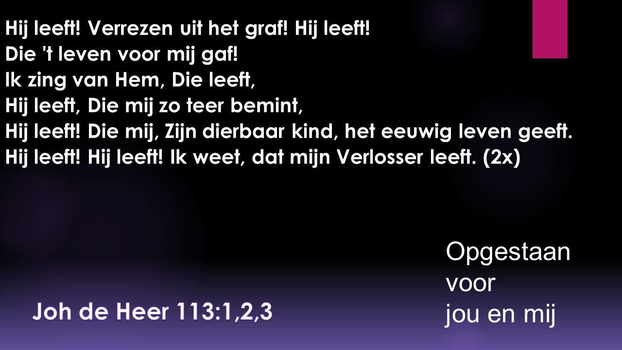 Opgestaan voor jou en mij Joh de Heer 113:1,2,3