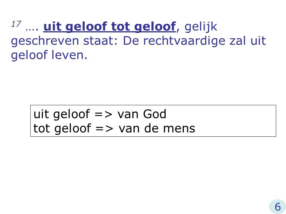 uit geloof => van God tot geloof => van de mens