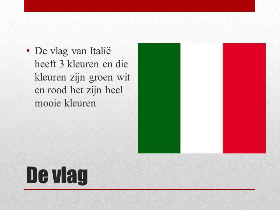 De vlag van Italië heeft 3 kleuren en die kleuren zijn groen wit en rood het zijn heel mooie kleuren