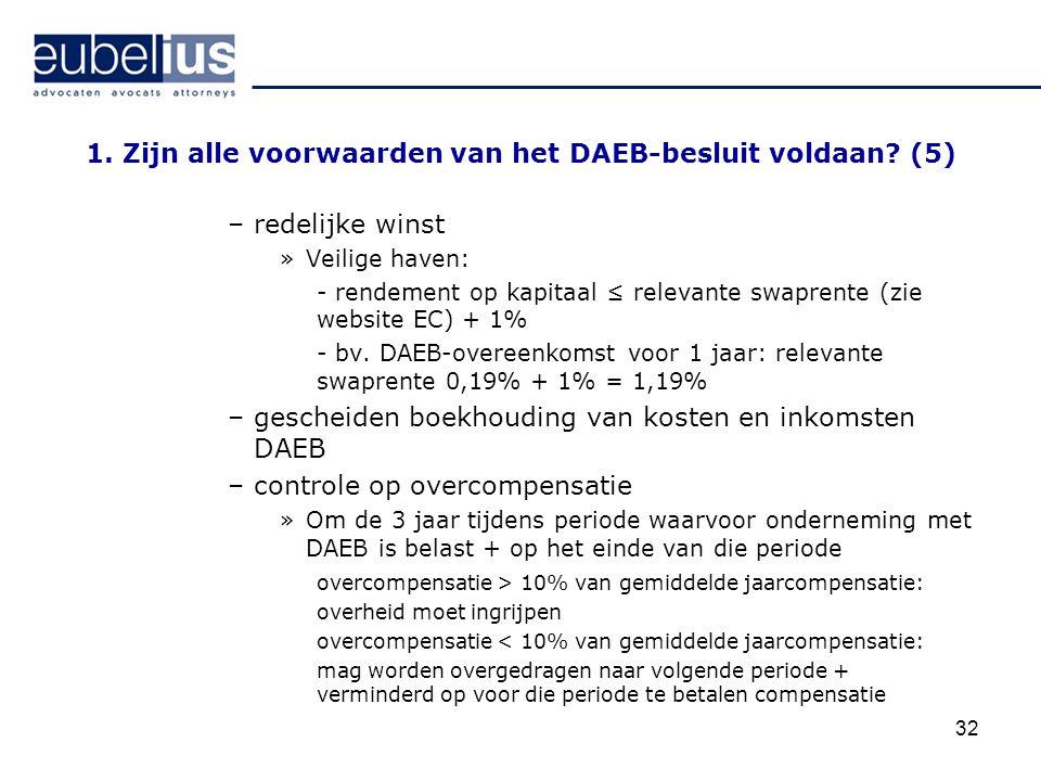 1. Zijn alle voorwaarden van het DAEB-besluit voldaan (5)
