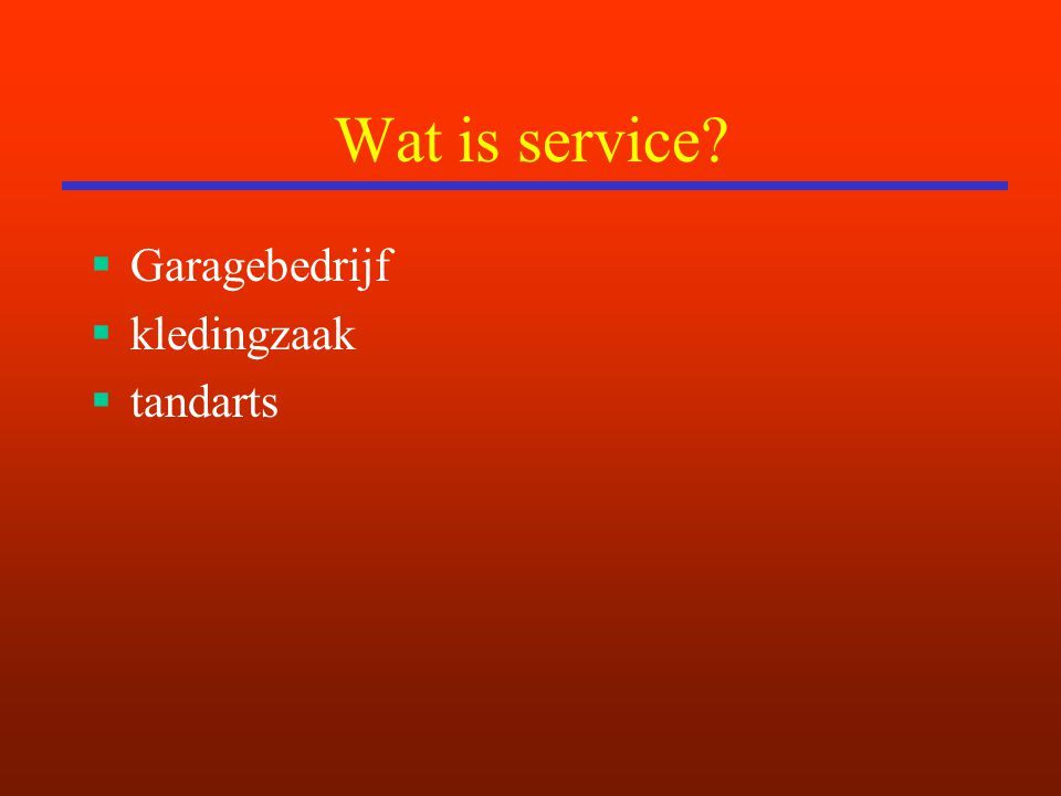 Wat is service Garagebedrijf kledingzaak tandarts