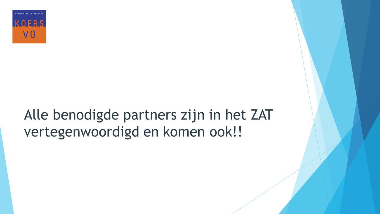 Alle benodigde partners zijn in het ZAT vertegenwoordigd en komen ook!!