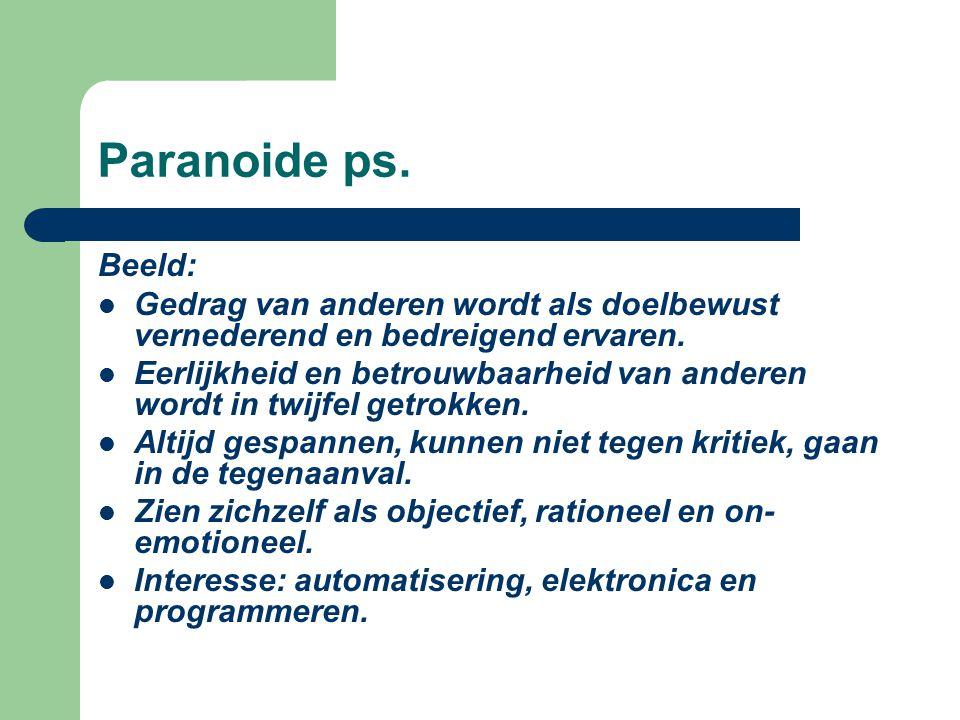 Paranoide ps. Beeld: Gedrag van anderen wordt als doelbewust vernederend en bedreigend ervaren.