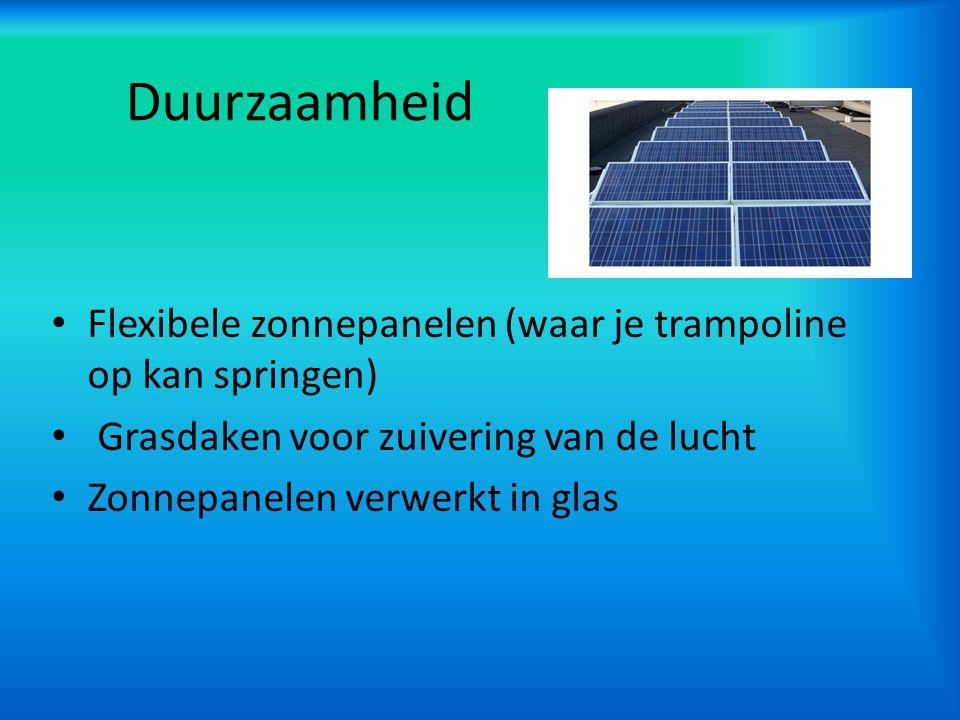 Duurzaamheid Flexibele zonnepanelen (waar je trampoline op kan springen) Grasdaken voor zuivering van de lucht.