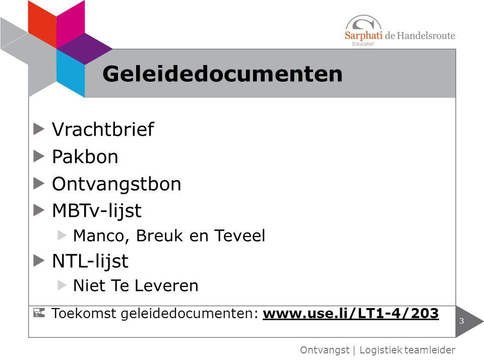 Geleidedocumenten Vrachtbrief Pakbon Ontvangstbon MBTv-lijst NTL-lijst