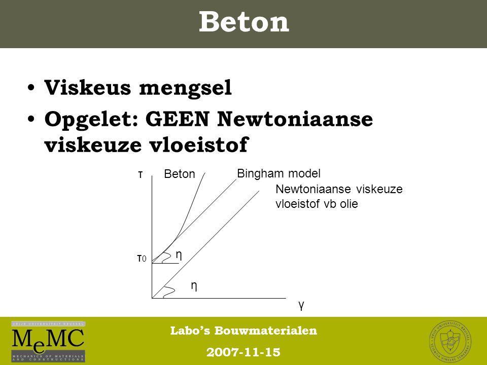 Beton Viskeus mengsel Opgelet: GEEN Newtoniaanse viskeuze vloeistof η