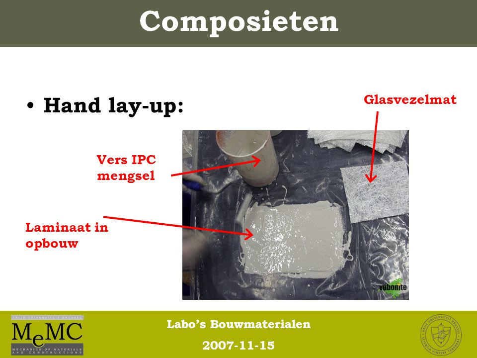 Composieten Hand lay-up: Glasvezelmat Vers IPC mengsel