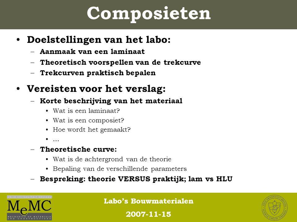 Composieten Doelstellingen van het labo: Vereisten voor het verslag: