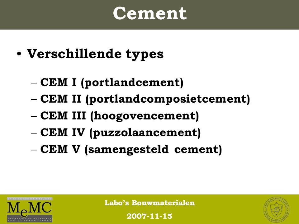 Cement Verschillende types CEM I (portlandcement)