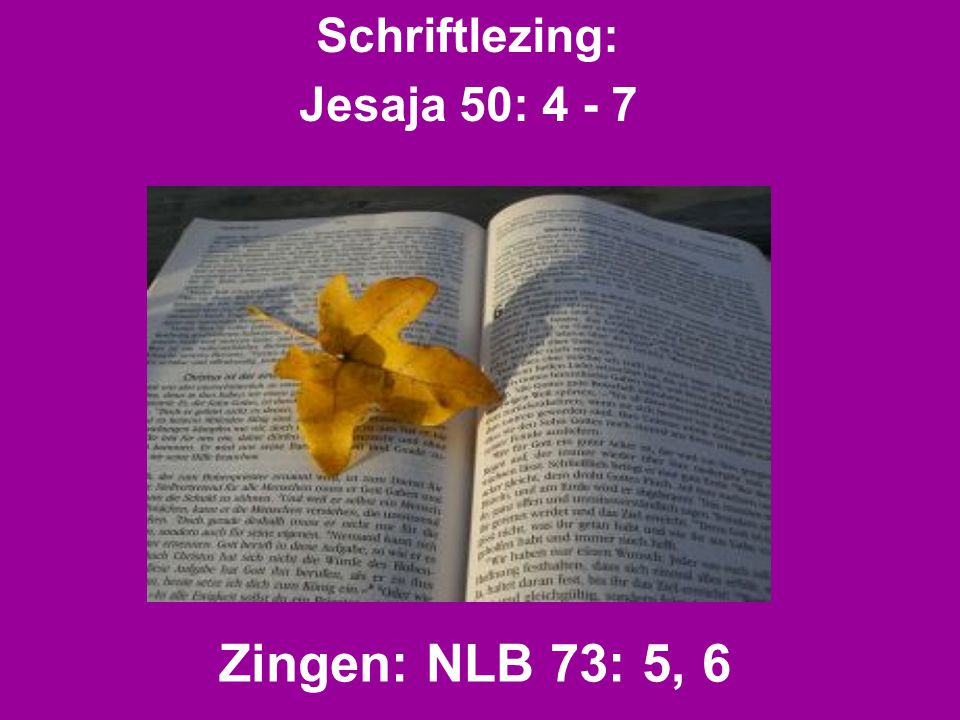 Schriftlezing: Jesaja 50: 4 - 7 Zingen: NLB 73: 5, 6