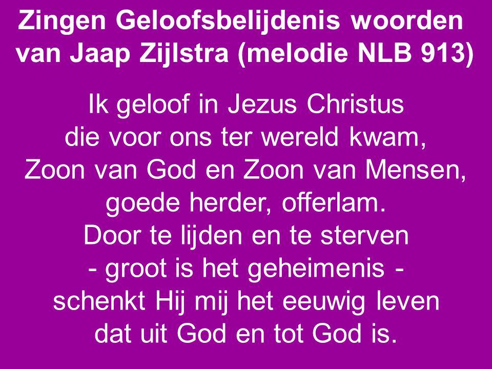 Zingen Geloofsbelijdenis woorden van Jaap Zijlstra (melodie NLB 913)