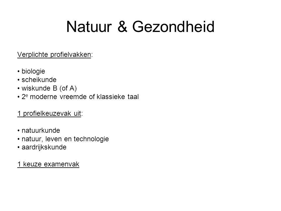 Natuur & Gezondheid Verplichte profielvakken: biologie scheikunde