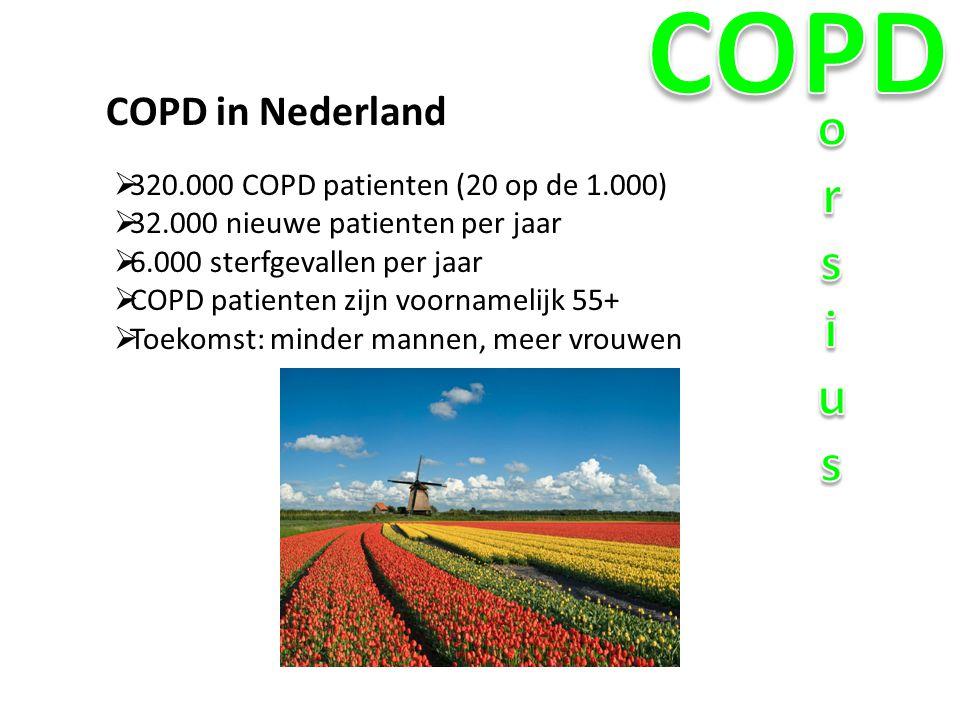 COPD orsius COPD in Nederland 320.000 COPD patienten (20 op de 1.000)