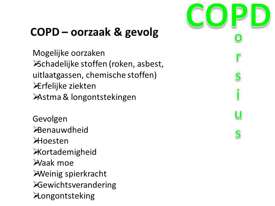 COPD orsius COPD – oorzaak & gevolg Mogelijke oorzaken