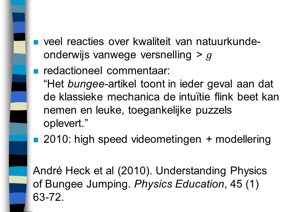 veel reacties over kwaliteit van natuurkunde-onderwijs vanwege versnelling > 𝑔
