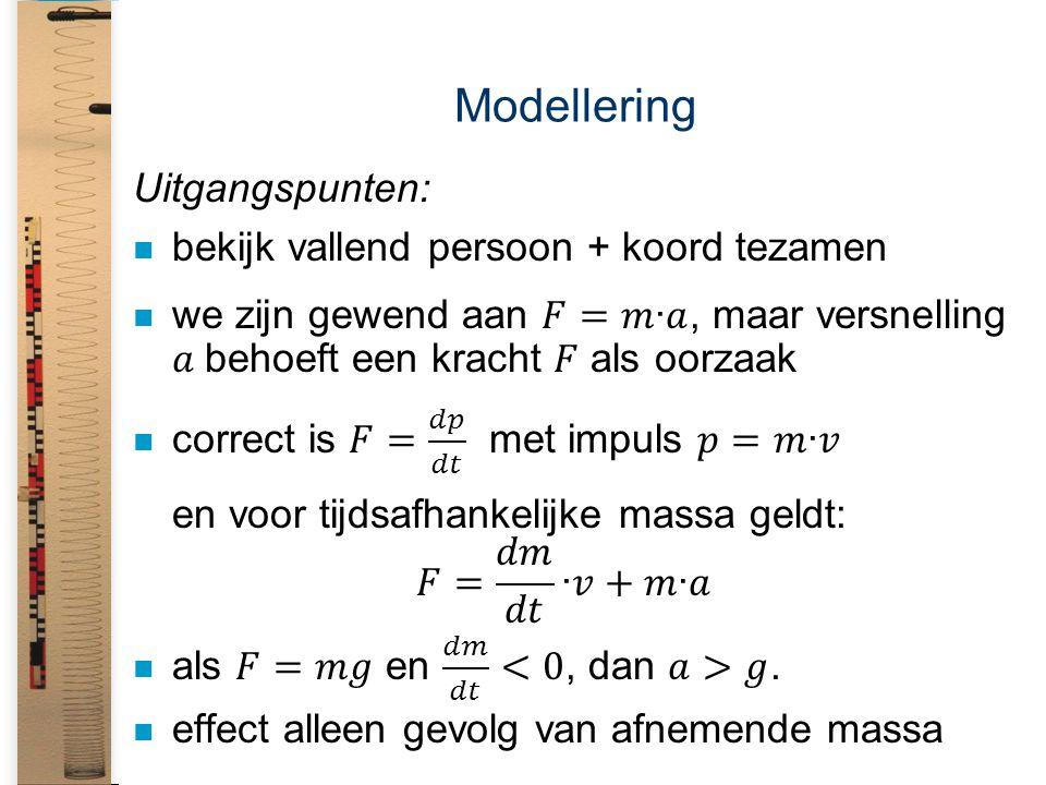 Modellering Uitgangspunten: bekijk vallend persoon + koord tezamen