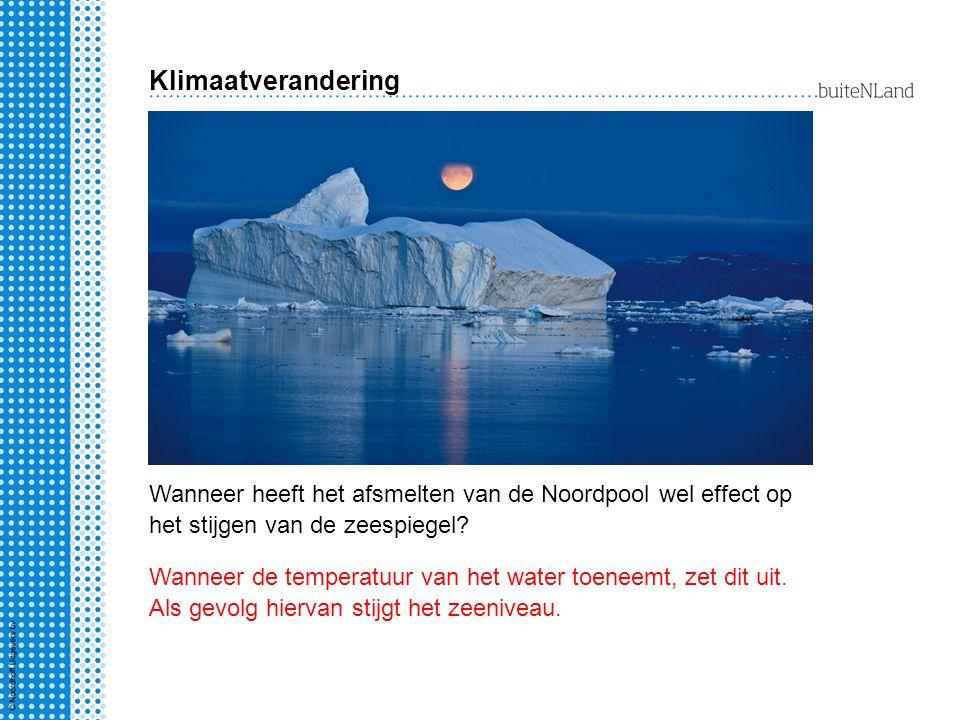 Klimaatverandering Wanneer heeft het afsmelten van de Noordpool wel effect op het stijgen van de zeespiegel