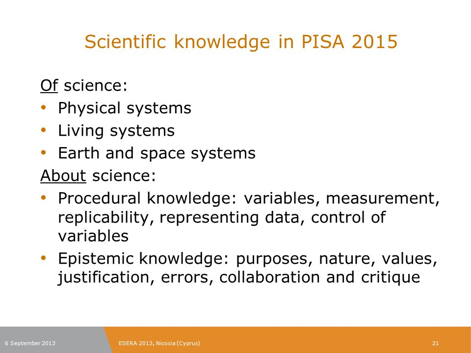 Scientific knowledge in PISA 2015
