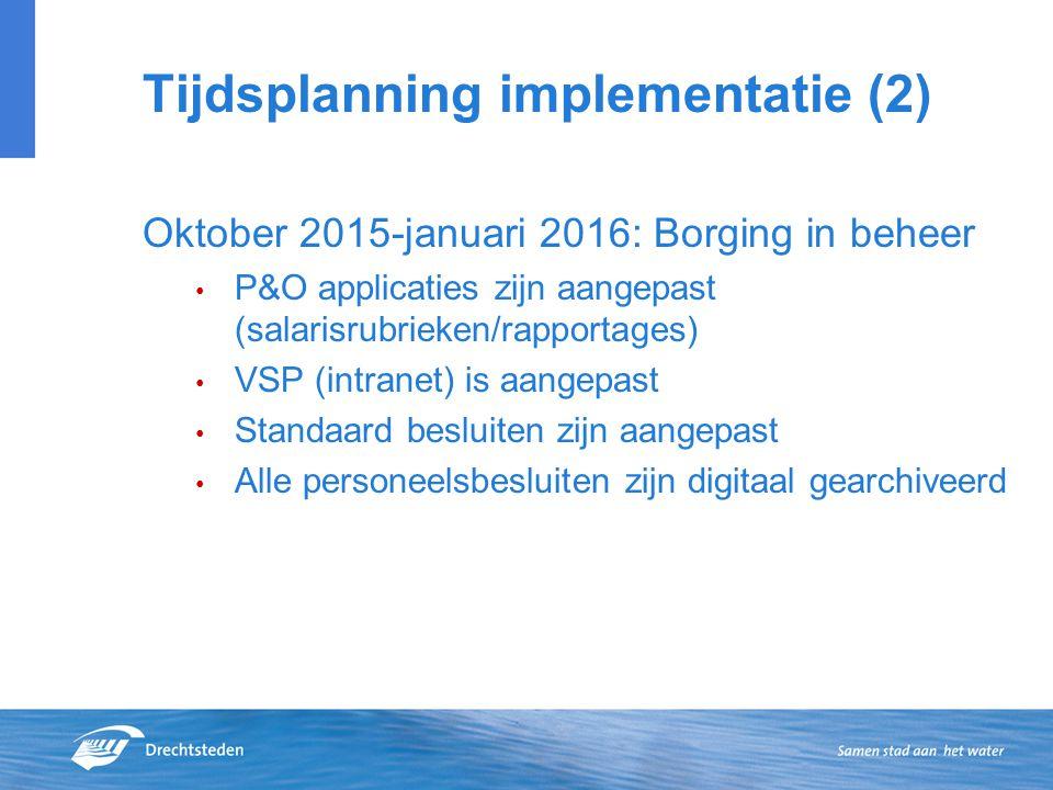 Tijdsplanning implementatie (2)
