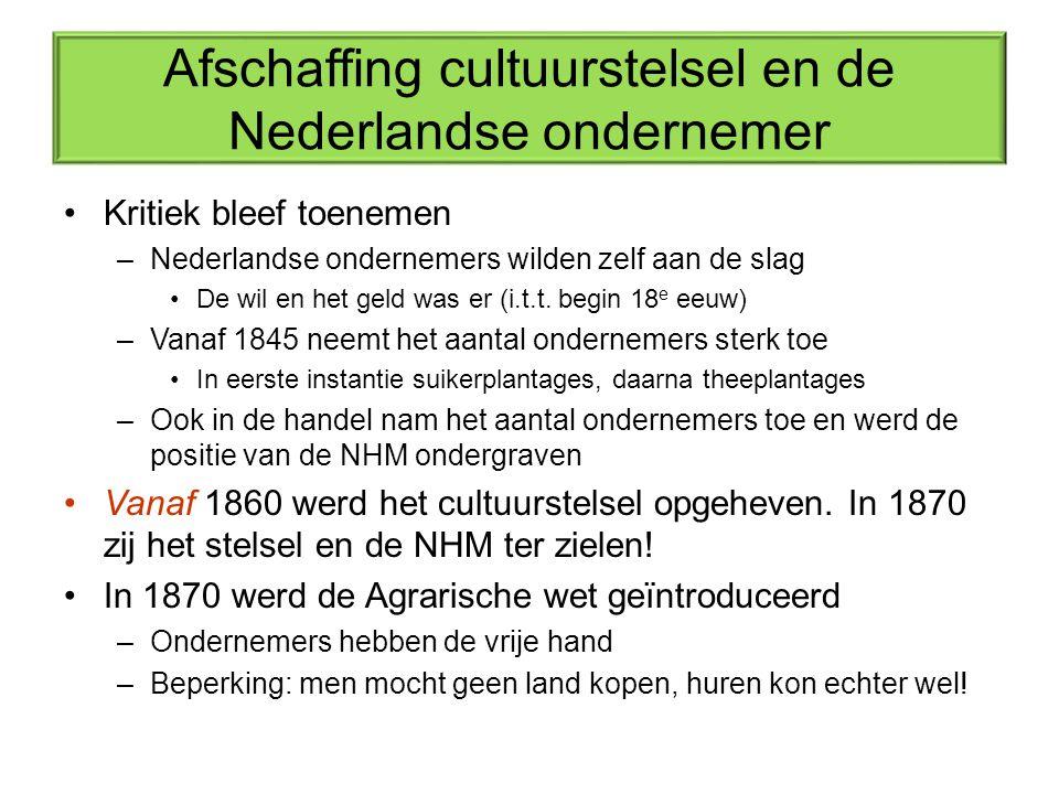 Afschaffing cultuurstelsel en de Nederlandse ondernemer