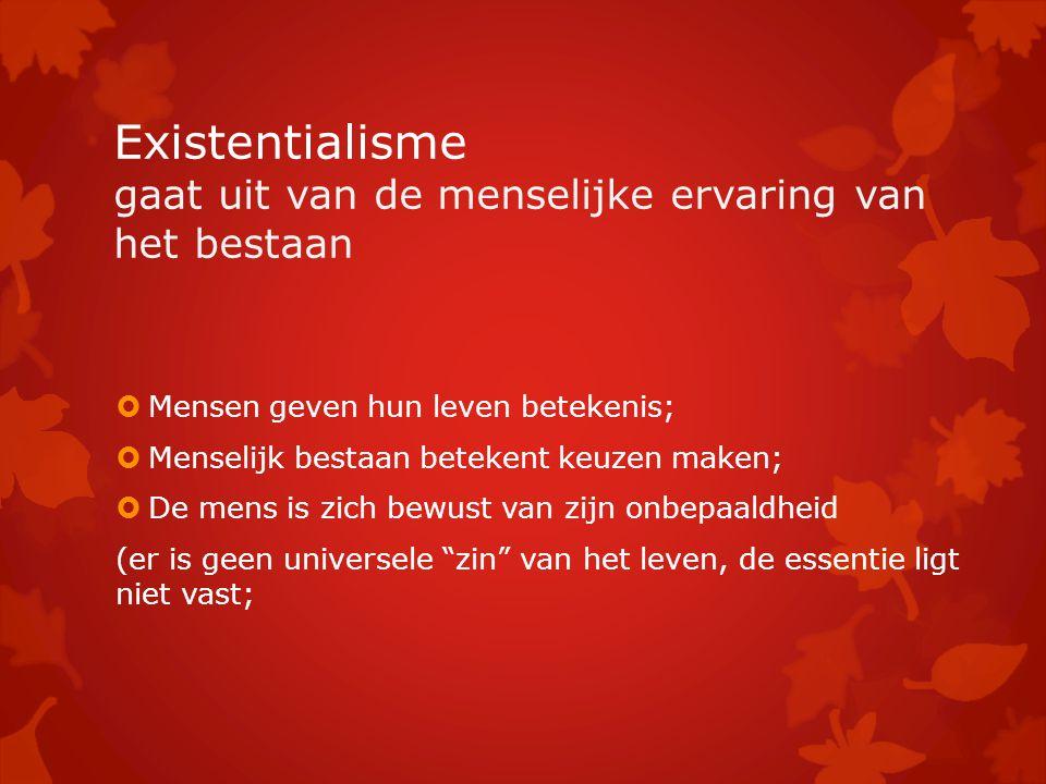 Existentialisme gaat uit van de menselijke ervaring van het bestaan