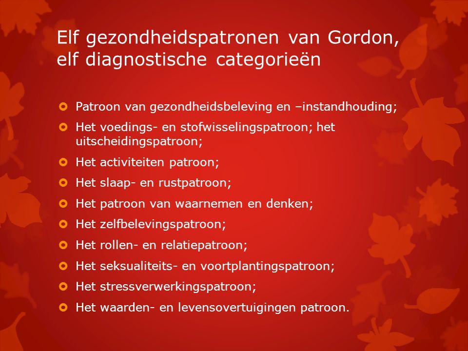 Elf gezondheidspatronen van Gordon, elf diagnostische categorieën