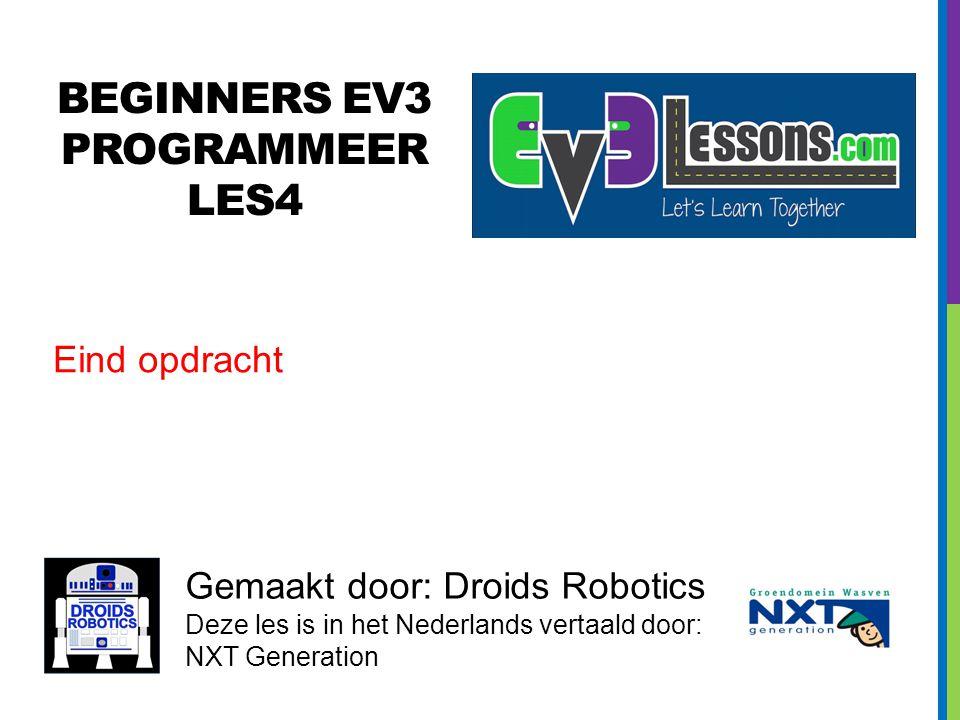 BEGINNERS EV3 PROGRAMMEER Les4