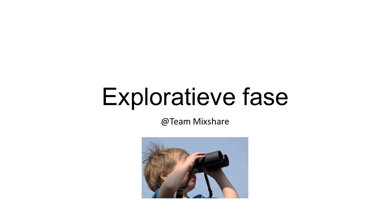 Exploratieve fase @Team Mixshare