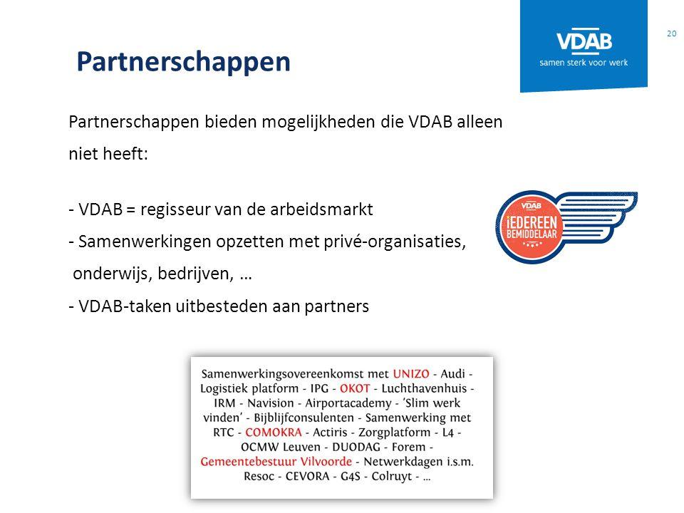 Partnerschappen Partnerschappen bieden mogelijkheden die VDAB alleen