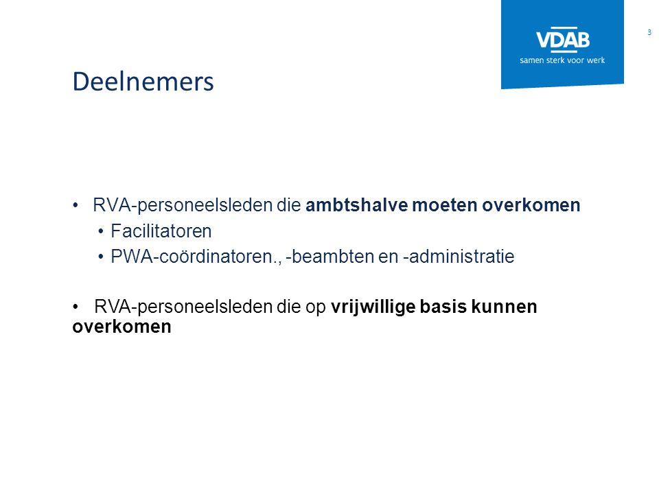 Deelnemers RVA-personeelsleden die ambtshalve moeten overkomen