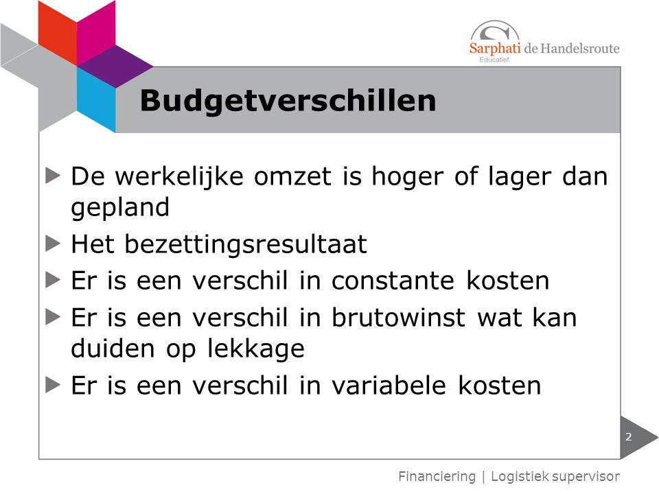 Budgetverschillen De werkelijke omzet is hoger of lager dan gepland