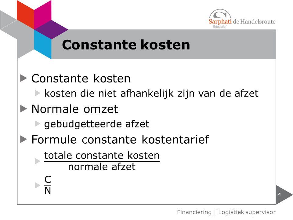 Constante kosten Constante kosten Normale omzet