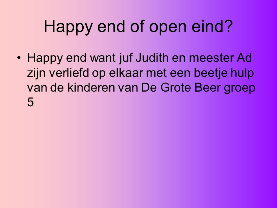 Happy end of open eind.