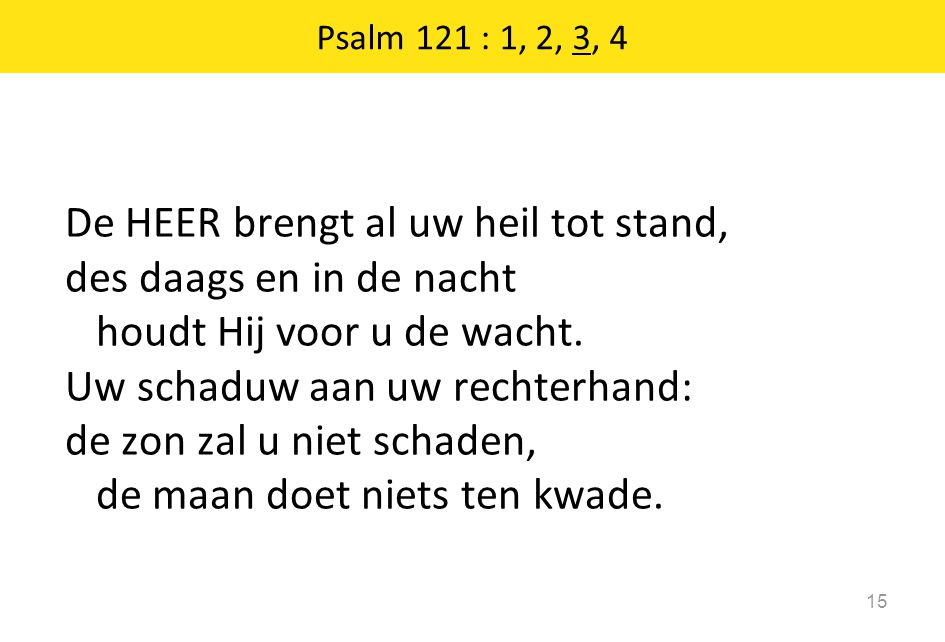 Psalm 121 : 1, 2, 3, 4