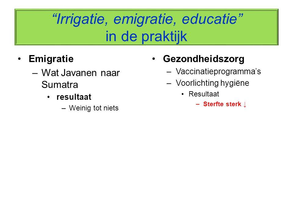Irrigatie, emigratie, educatie in de praktijk