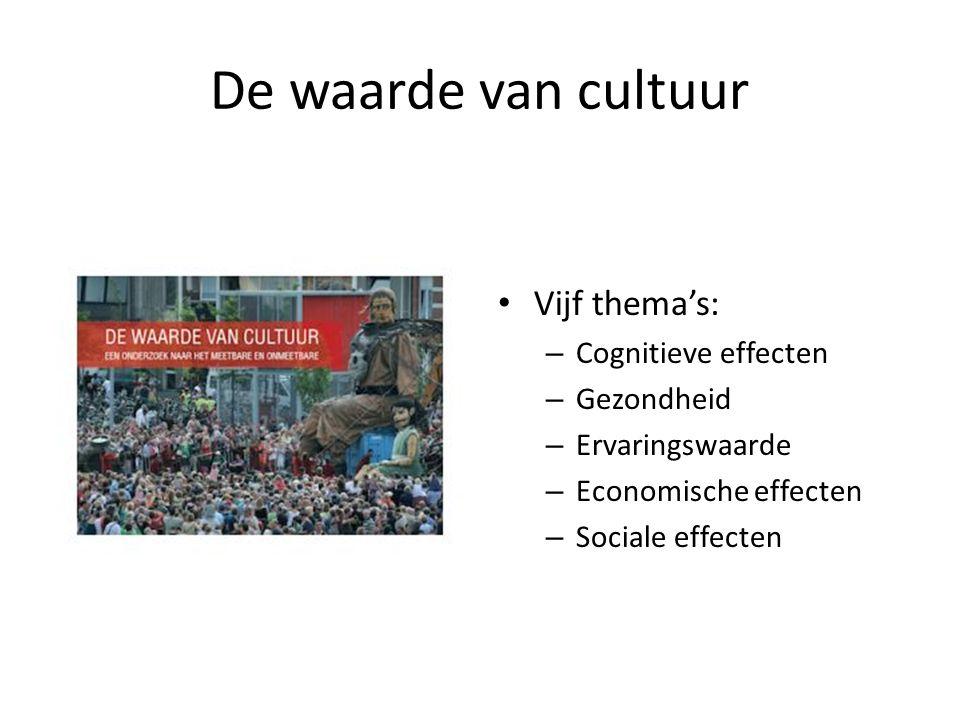 De waarde van cultuur Vijf thema's: Cognitieve effecten Gezondheid