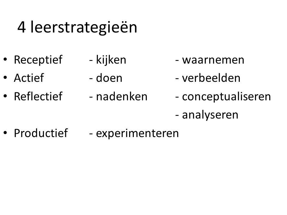 4 leerstrategieën Receptief - kijken - waarnemen