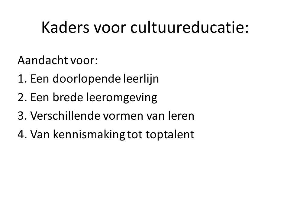 Kaders voor cultuureducatie: