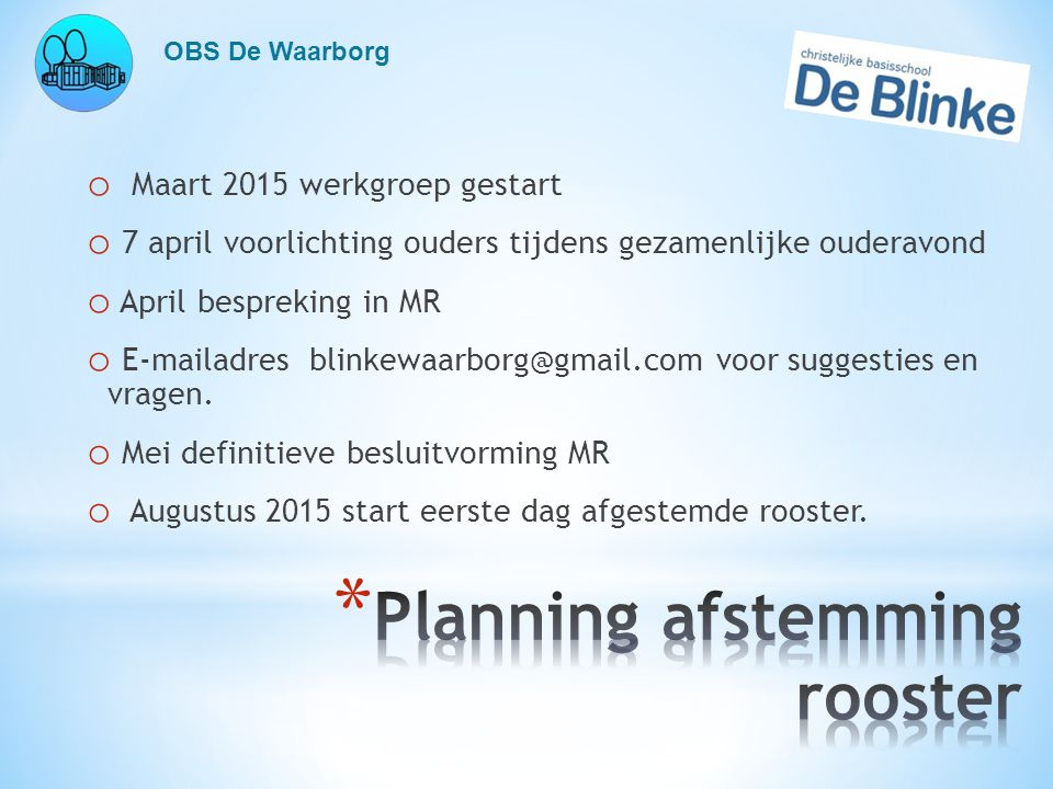 Planning afstemming rooster