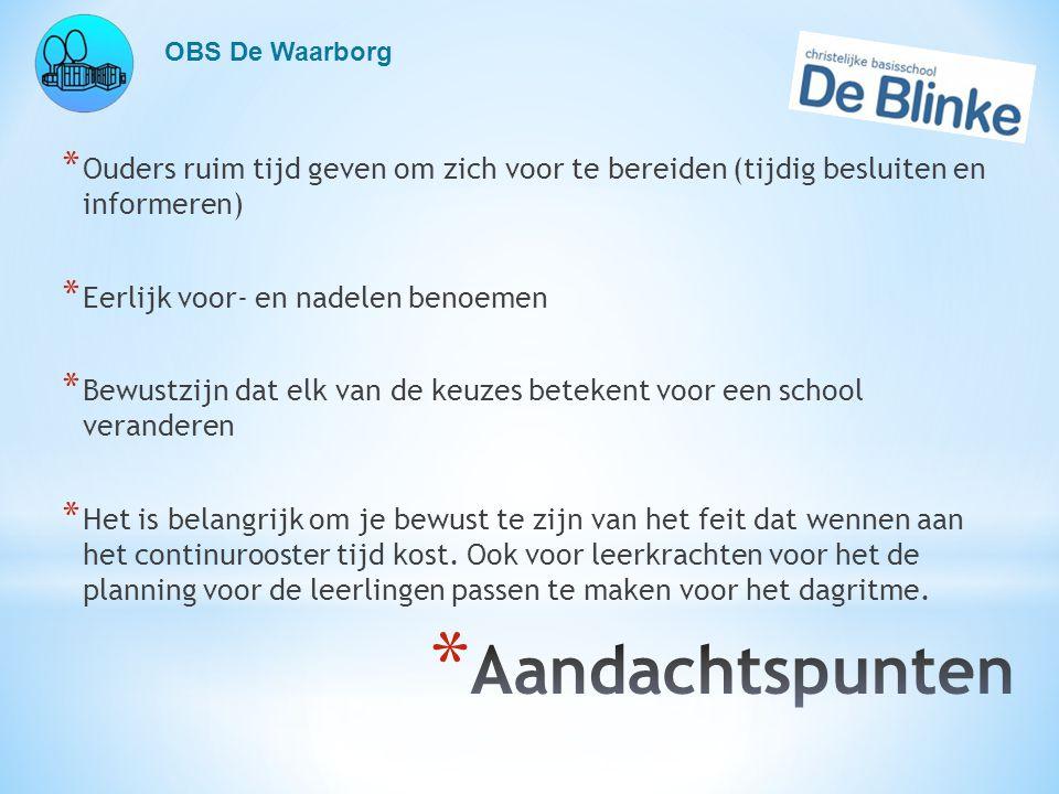 OBS De Waarborg Ouders ruim tijd geven om zich voor te bereiden (tijdig besluiten en informeren) Eerlijk voor- en nadelen benoemen.