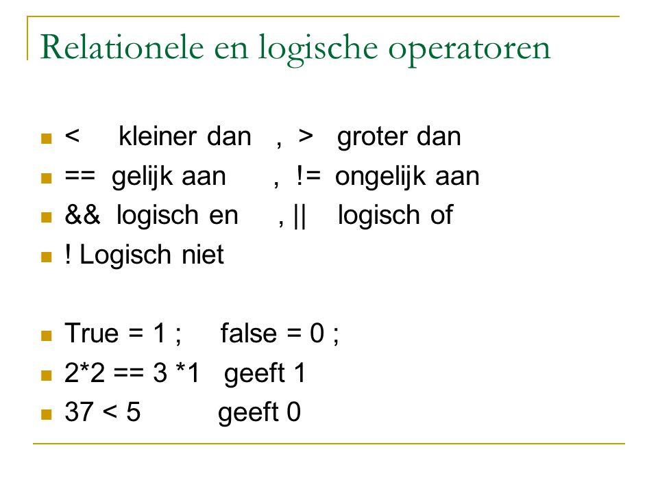 Relationele en logische operatoren