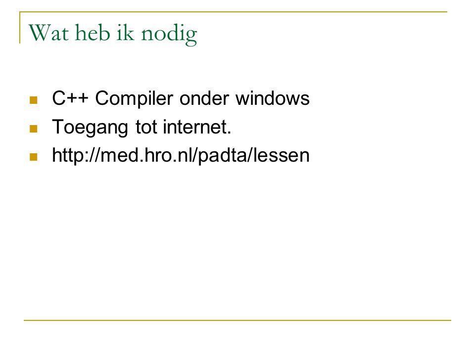 Wat heb ik nodig C++ Compiler onder windows Toegang tot internet.